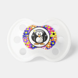 Pearl Ribbon Penguin Baby Pacifier
