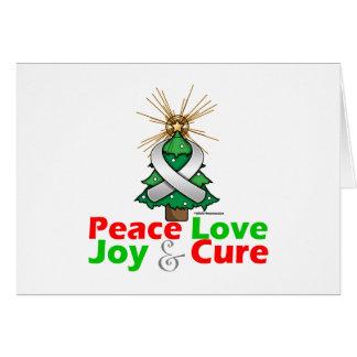 Pearl Ribbon Xmas Peace Love, Joy & Cure Greeting Card