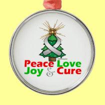 Pearl Ribbon Xmas Peace Love, Joy & Cure Round Metal Christmas Ornament