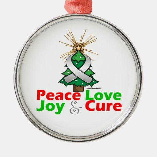 Pearl Ribbon Xmas Peace Love, Joy & Cure Ornament