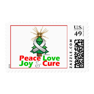 Pearl Ribbon Xmas Peace Love, Joy & Cure Postage Stamp