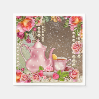 Pearl Rose Tea Party Bridal Shower Paper Napkin