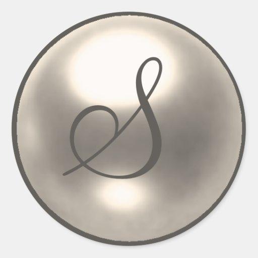Pearl S monogram wedding seal Classic Round Sticker