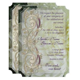 Pearl Scroll & White Chrysanthemum Wedding Invite2 Card