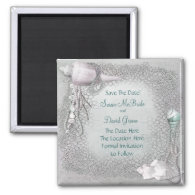 Pearl Seashell Beach Wedding Save The Date Magnet