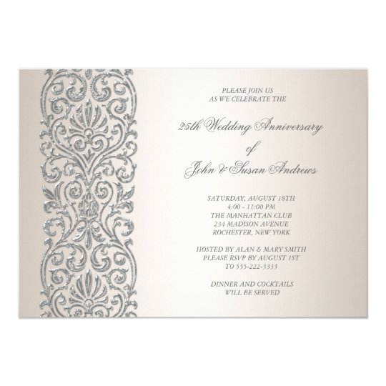Pearl silver border 25th anniversary party card zazzle pearl silver border 25th anniversary party card stopboris Image collections