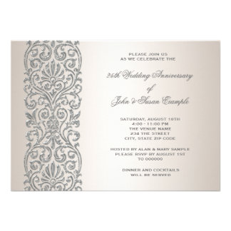 Pearl Silver Border 25th Anniversary Party Personalized Announcement