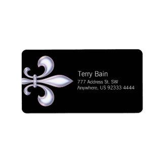 Pearl Style Fleur de Lis Address Label