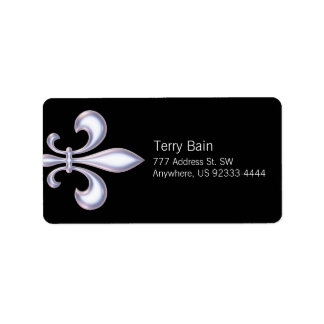 Pearl Style Fleur de Lis Custom Address Labels
