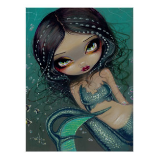 Pearl Swirl Mermaid ART PRINT Big Eyed Mermaid