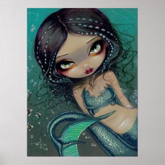 Pearl Swirl Mermaid ART PRINT Big Eyed Mermaid
