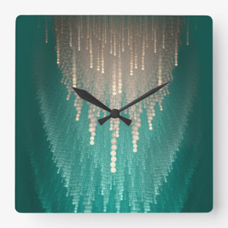 Pearl turquoise sparkling cascade.Fractal Square Wall Clock