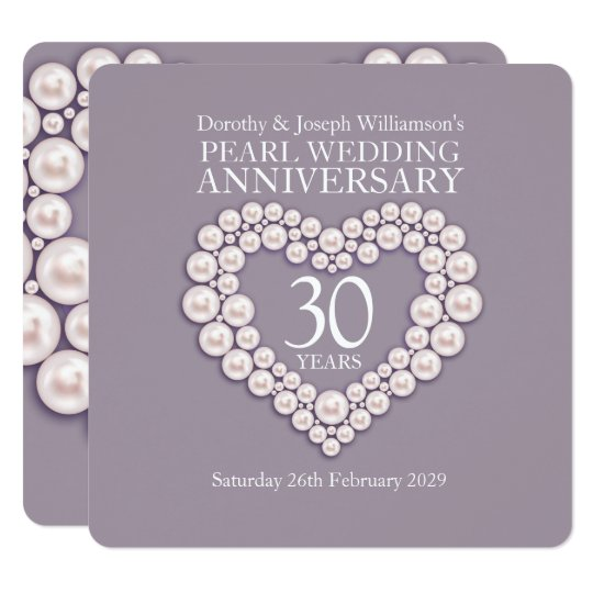 Wedding Anniversary Gifts 30 Years: Pearl Wedding Anniversary 30 Years Party Invites