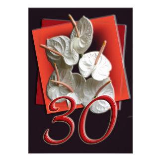 Pearl Wedding Anniversary Invitation Anthuriums