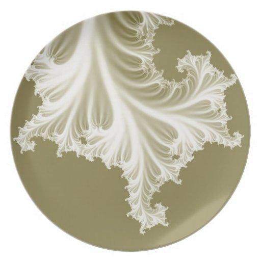 Pearl wedding dress train effect 3D fractal. Party Plate