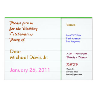 Pearl White Green Border with Sample Text 5x7 Paper Invitation Card