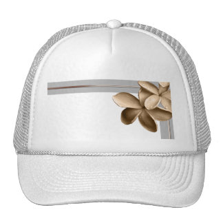 Pearled Grey and Champagne Gold Plumeria Trucker Hat
