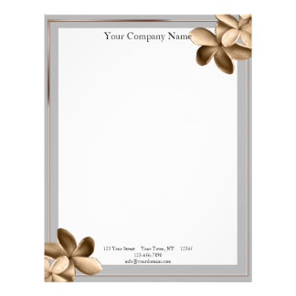 Pearled Grey and Champagne Gold Plumeria Letterhead