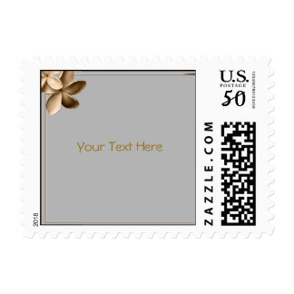 Pearled Grey and Champagne Plumeria Flower Postage