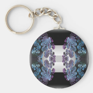 pearlescent floral basic round button keychain