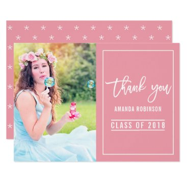 Professional Business Pearlescent Red and white Graduation Thank You Card