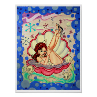 'Pearlesque' art print - (pop surreal pin-up) at Zazzle