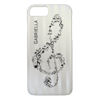 Pearlesque Stripes Black Treble Clef Music Notes iPhone 7 Case