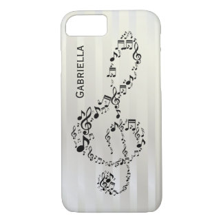 Pearlesque Stripes Black Treble Clef Music Notes iPhone 8/7 Case