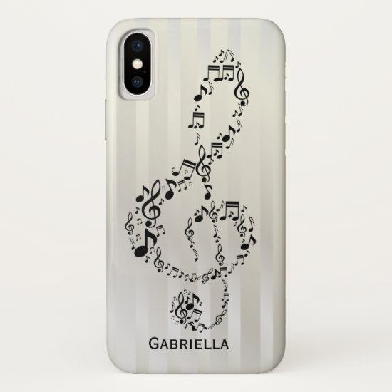 Pearlesque Stripes Black Treble Clef Music Notes iPhone XS Case