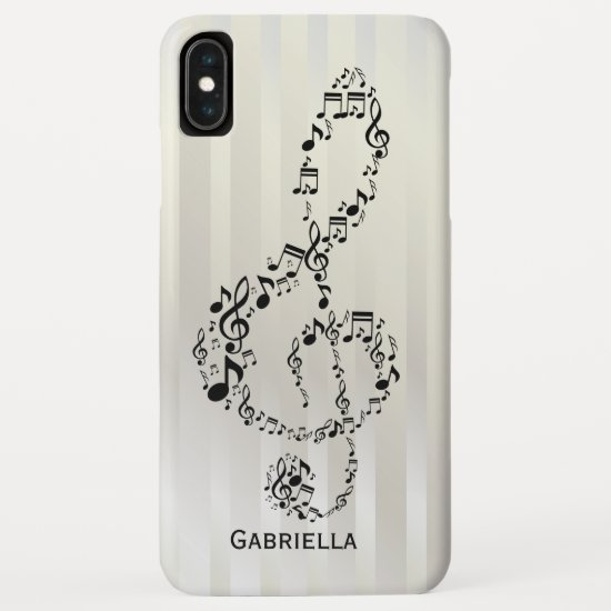 Pearlesque Stripes Black Treble Clef Music Notes iPhone XS Max Case