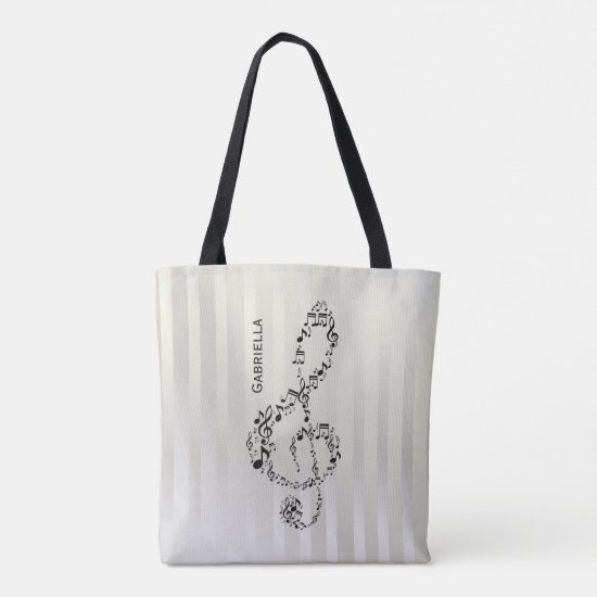 Pearlesque Stripes Black Treble Clef Music Notes Tote Bag
