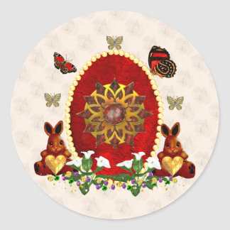 Pearls and Bunnies Classic Round Sticker