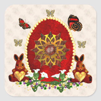 Pearls and Bunnies Square Sticker