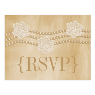 Pearls and Flowers RSVP Postcard