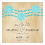 "Pearls and Flowers Save the Date Invite, Aqua 5.25"" Square Invitation Card"