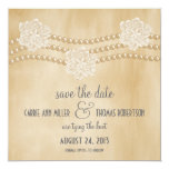 """Pearls and Flowers Save the Date Invite, Beige 5.25"""" Square Invitation Card"""