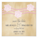 """Pearls and Flowers Save the Date Invite, Pink 5.25"""" Square Invitation Card"""