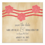 """Pearls and Flowers Save the Date Invite, Red 5.25"""" Square Invitation Card"""