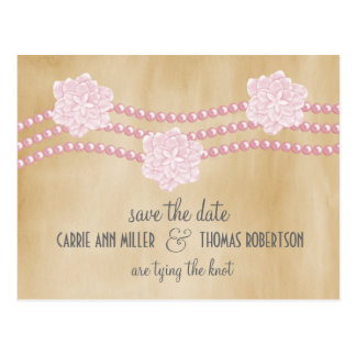 Pearls and Flowers Save the Date Postcard, Pink Postcard