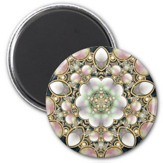 Pearls and Gold Kaleidoscope 2 Inch Round Magnet