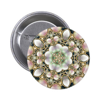Pearls and Gold Kaleidoscope Button