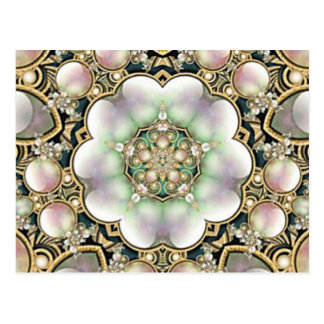 Pearls and Gold Kaleidoscope Postcard