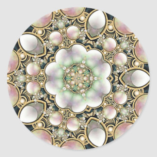 Pearls and Gold Kaleidoscope Round Sticker