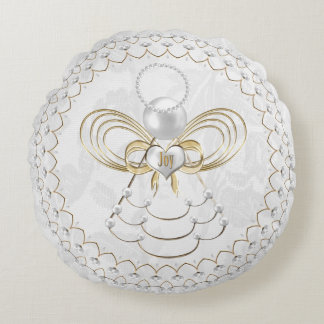 Pearls and Gold - Metallic Christmas Angel of Joy Round Pillow
