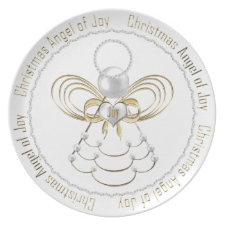 Pearls and Gold - Metallic Christmas Angel of Joy Party Plates