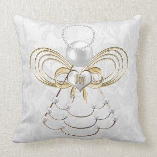 Pearls and Gold - Metallic Christmas Angel of Joy Throw Pillows