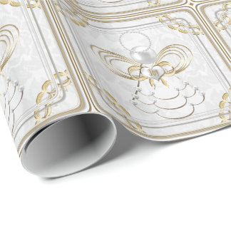 Pearls and Gold - Metallic Christmas Angel of Joy Gift Wrap Paper