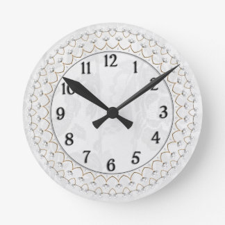 Pearls and Gold - Metallic Filigree on Lace Wall Clock