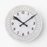 Pearls and Gold - Metallic Filigree on Lace Round Clocks
