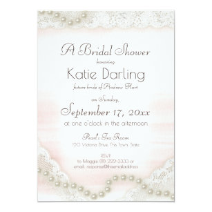 pearls and lace blush bridal shower invitation